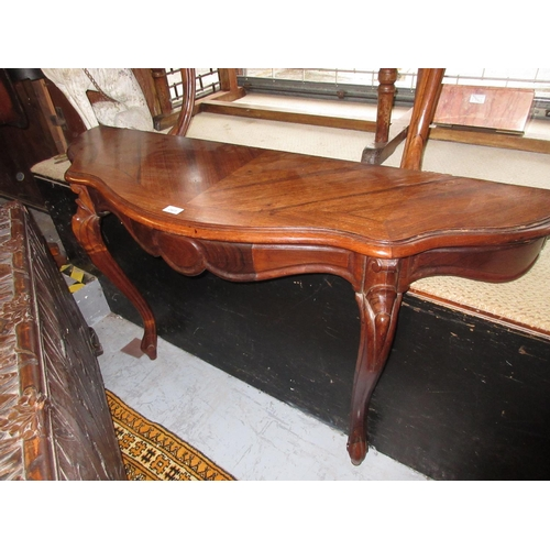 2405 - Pair of 19th Century rosewood serpentine shaped console tables, each with a single frieze drawer rai...