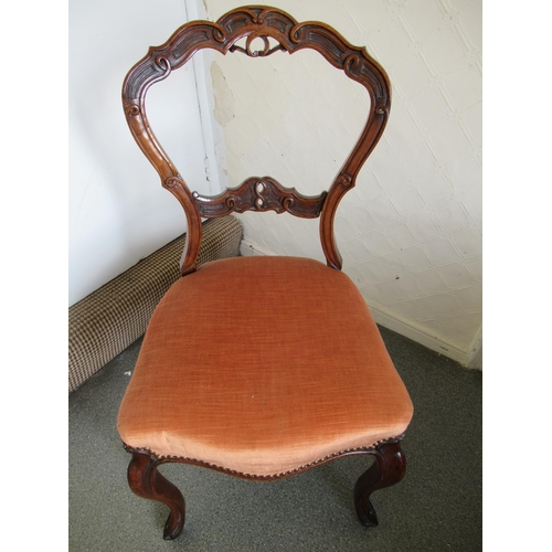 2407 - Set of six Victorian carved walnut balloon back drawing room chairs with overstuffed seats and cabri...