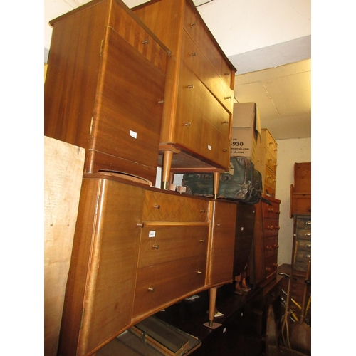 2409 - Mid 20th Century Uniflex three piece teak bedroom suite comprising:  dressing table, chest and bedsi...
