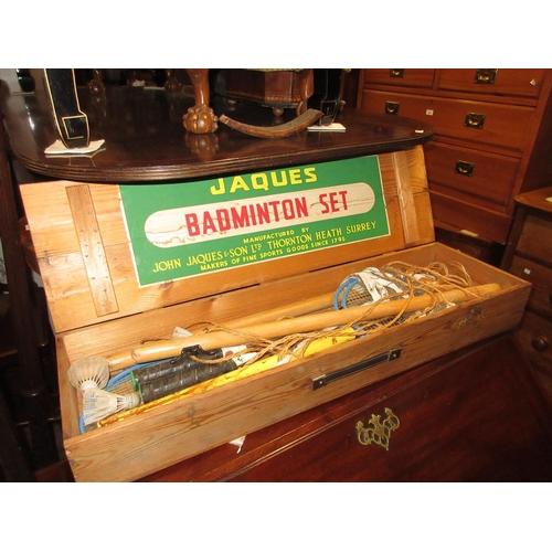 2414 - Jaques badminton set in original pine box...