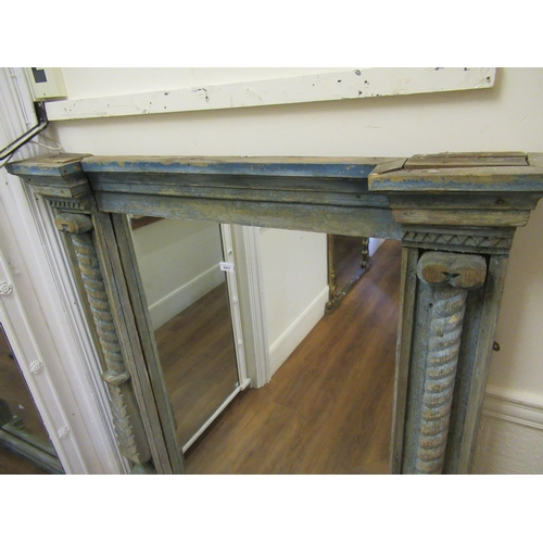 2417 - Large distressed and painted pine wall mirror, the moulded cornice above a rectangular plate flanked...