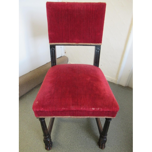 2422 - Pair of ebonised Gothic style side chairs with red plush upholstery together with an ' Oka ' armchai...
