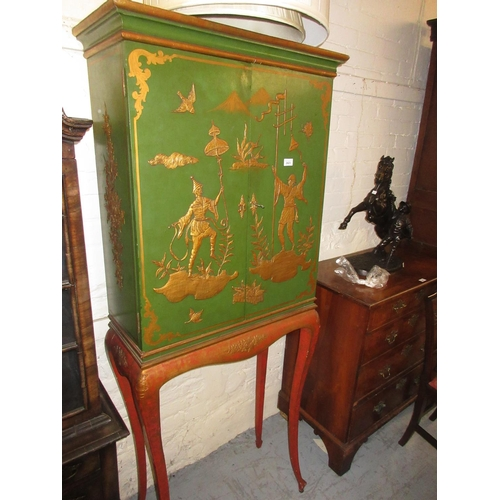 2423 - Mid 20th Century green and gilt chinoiserie lacquer cocktail cabinet, the moulded cornice above two ...