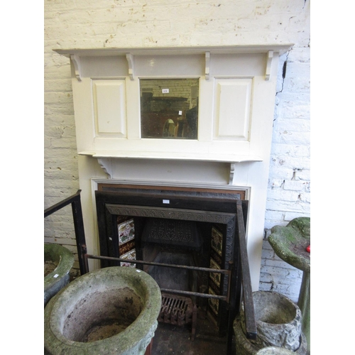 2427 - Late 19th / early 20th Century white painted mirror inset fire surround with a tile inset cast iron ...