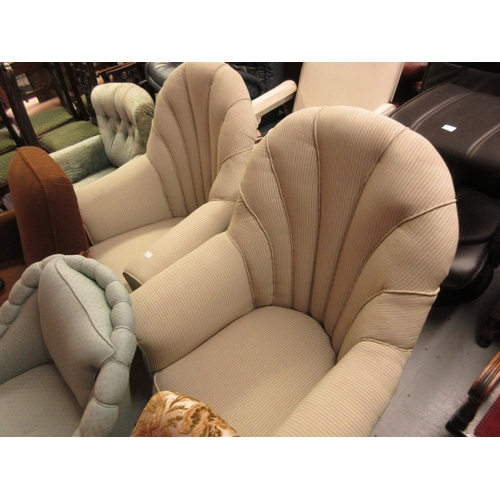 2428 - Pair of Art Deco shell back upholstered armchairs on low oak shaped supports...