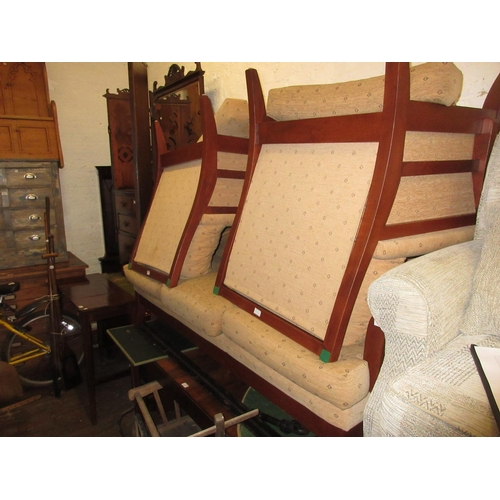 2430 - 20th Century three piece suite having stained wooden frame with beige upholstery and loose seat cush...