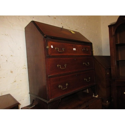 2433 - Edwardian mahogany satinwood crossbanded and shell inlaid bureau with a fall front above three drawe...