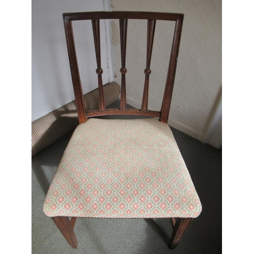 2437 - 19th Century slat back elbow chair with matching side chair and two 19th Century side chairs...