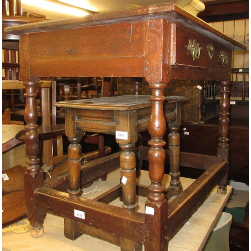 2439 - 18th Century oak single drawer side table on bobbin turned supports with peripheral stretchers...