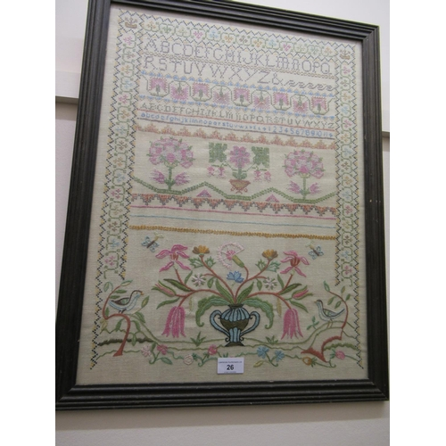 26 - Early 20th Century alphabet and pictorial sampler, 22ins x 16.5ins, framed...