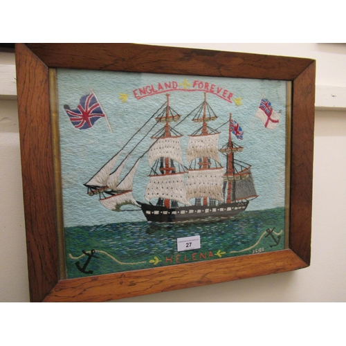 27 - 20th Century woolwork picture  in antique style, naive study of a three masted sailing vessel, ' Eng...