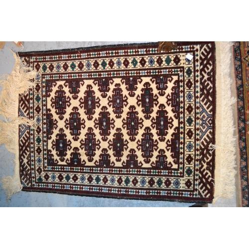 3 - Small Pakistan mat of Turkoman design together with a small Turkish prayer rug...