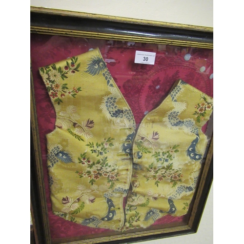 30 - Gentleman's 18th Century silk embroidered waistcoat mounted in a box frame...