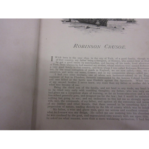 343 - Early 20th Century canvas bound volume, Robinson Crusoe (at fault)...