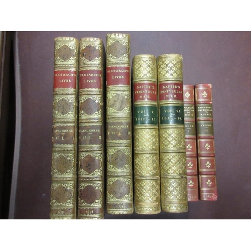 351 - Set of five volumes leather bound, ' Plutarch's Lives ', together with six volumes ' Napier's Penins...