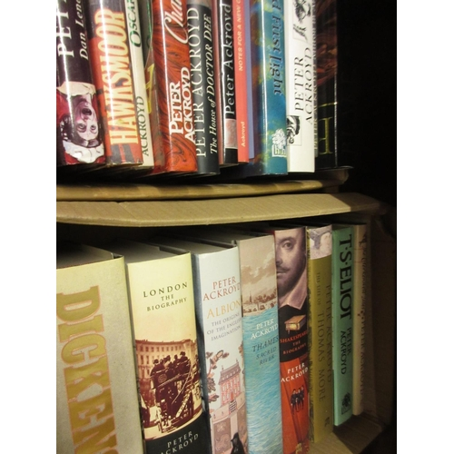 363 - Peter Ackroyd, nineteen First Edition volumes including Dickens, Shakespeare and T.S. Eliot, with du...