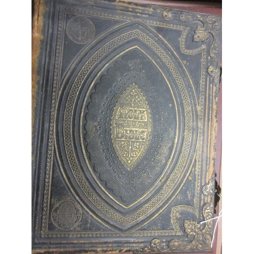 367 - 19th Century leather bound Bible with gilt tooled decoration and gilt metal mounts...