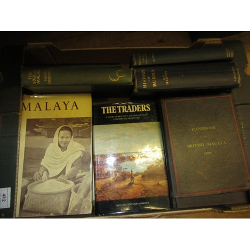 412 - Small collection of twelve volumes on the Far East, Burma to Malaya to Indonesia...