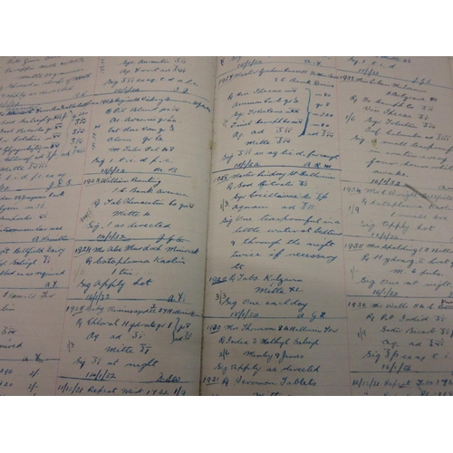 413 - One large volume, ' Prescription Book ' of the 1930's, a hand written ledger full of prescriptions...