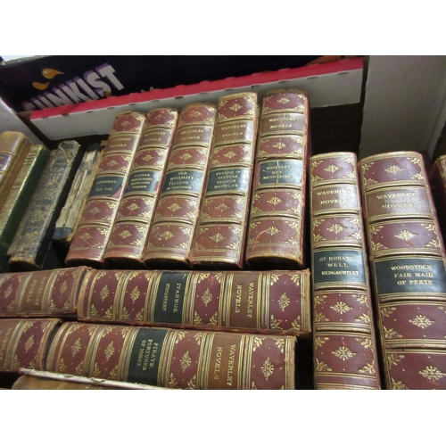 427 - Thirteen volumes ' Waverley Novels ', part leather bound, together with a small quantity of other le...