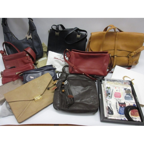 43 - Quantity of various leather Radley handbags etc. and a boxed silk scarf decorated with cats...