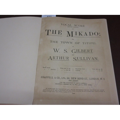 432 - Red canvas bound vocal score of ' The Mikado or the Town of Titipu ' by W.S. Gilbert and Arthur Sull...