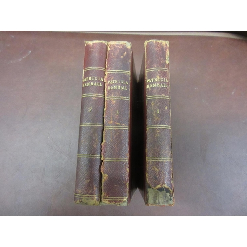435 - Three volumes ' Patricia Kemball ' by E. Lynn Linton, published by Chatto and Windus, Piccadilly 187...