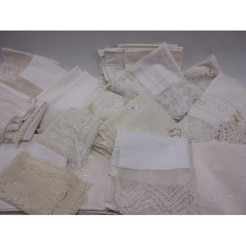 47 - Large quantity of miscellaneous lace, crochet and other table linen...