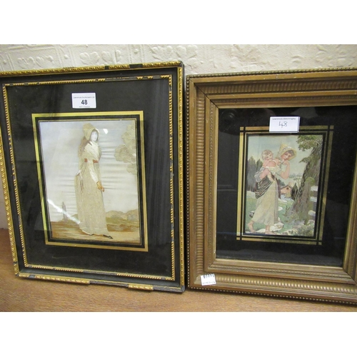 48 - Regency silkwork full length picture of a lady together with another similar, both gilt framed with ...