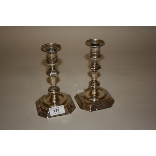 782 - Pair of Edwardian silver knopped stem candlesticks in Georgian style, London 1901, 7ins high...