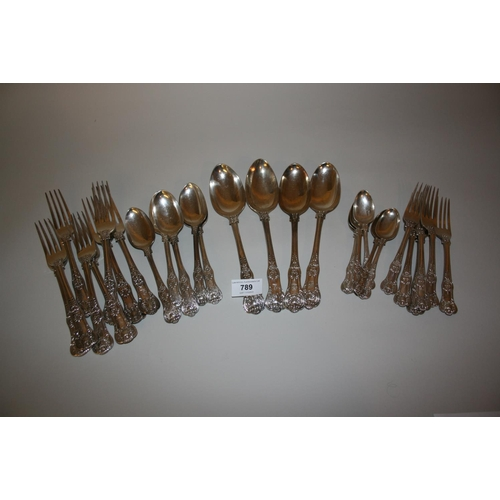 789 - Harlequin canteen of Georgian and Victorian silver Kings pattern cutlery...