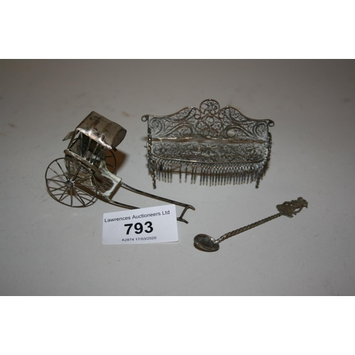 793 - 19th Century Continental white metal wire work model of a two seat sofa together with a similar orie...