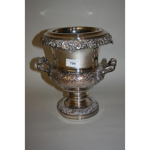 794 - 19th Century plate on copper two handled pedestal wine cooler with chased decoration...