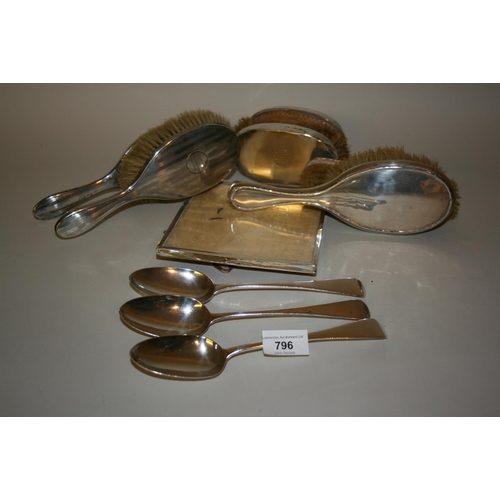 796 - Three various Victorian silver Old English pattern tablespoons and a small rectangular silver photog...