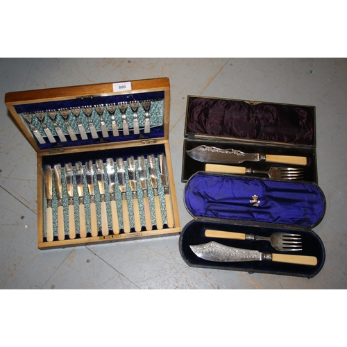 800 - Walnut cased set of twelve plated fish knives and forks, together with two cased sets of plated fish...