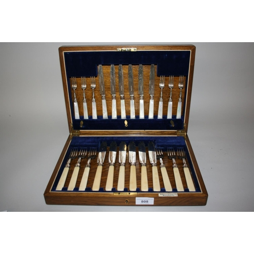 808 - Cased set of six Sheffield silver bladed fish knives and forks, together with a matching set of moth...