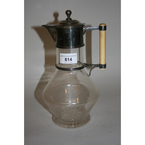 814 - Late 19th or early 20th Century glass and silver plate mounted claret jug after a design by Dr. Chri...