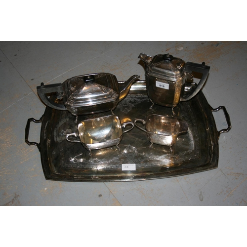 816 - Silver four piece tea service and two handled tray, the teapot, hot water pot, sugar bowl and cream ...