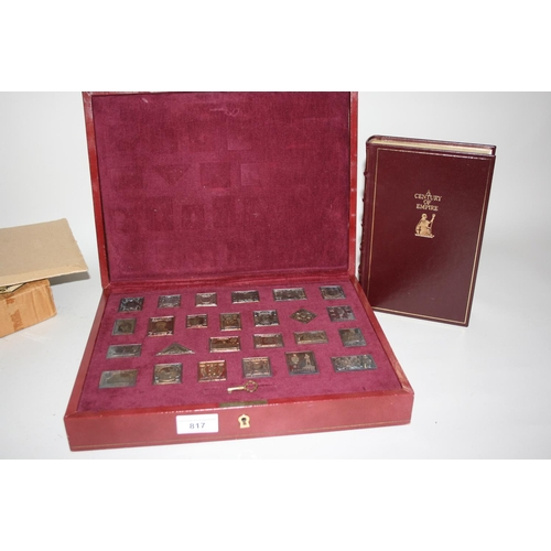 817 - Collector's silver gilt presentation stamp collection with associated full leather bound book and ce...
