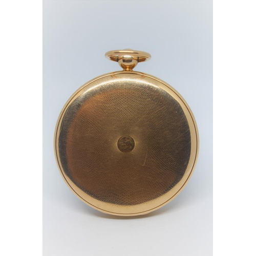 902 - Breguet.  Gold open face ' Souscription ' ruby cylinder pocket watch, the enamel dial with Arabic nu...