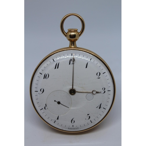 903 - Breguet.  Gold repeating lever watch, No. 3174, the enamel dial with Arabic numerals and subsidiary ...