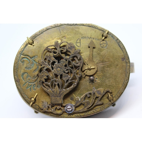 906 - Oval silver verge watch in 17th Century style, the front cover engraved with a scene of St. George a...