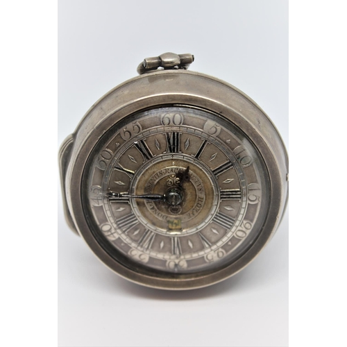 907 - Large Continental silver cased verge watch, the full plate gilt movement signed Garnier, the silver ...