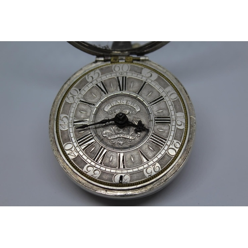 908 - Large pair cased verge watch signed Thomas Baker Junior, Portsmouth, No. 27, the silver champleve di...