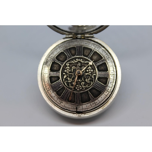 909 - Plain silver pair cased verge watch with a later movement, signed John Retford, London, No. 8274, th...