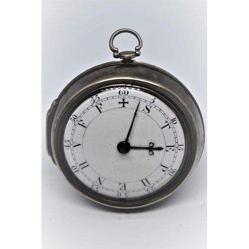 911 - Plain silver pair cased verge watch, the movement signed James Davis, London, No. 732, the enamel di...