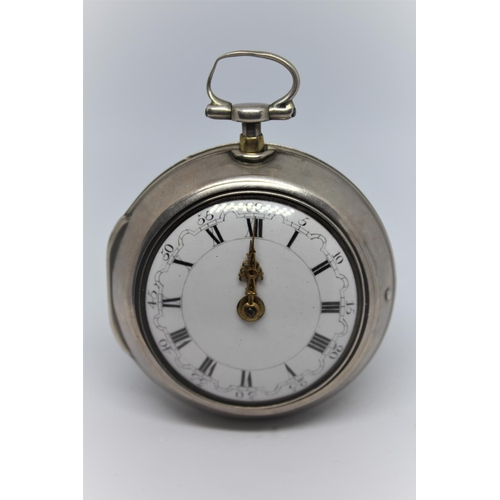 912 - Daniel Quare.  Silver pair cased quarter repeating verge watch, signed to the back plate and No. 441...