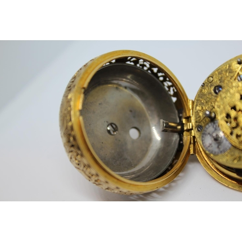 913 - John Gordon.  Gold repousse quarter repeating pair cased verge watch, signed to the back plate and t...