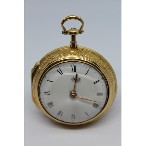 916 - Edward Ellicott.  Gold pair cased repousse ruby cylinder watch, signed to the back plate Ellicott, L...