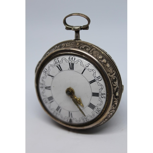 917 - Continental silver repousse pair cased verge watch, the movement signed Roget, London, No. 1192, the...